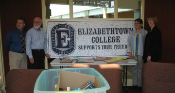 Donna Ring Receives School Supplies donated by the people of Elizabethtown College for Iraqi Students
