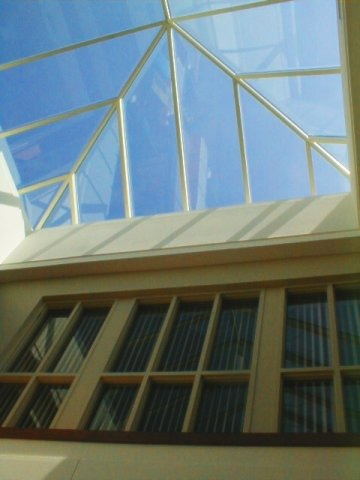 The glass ceiling of Brossman Commons, Elizabethtown College.