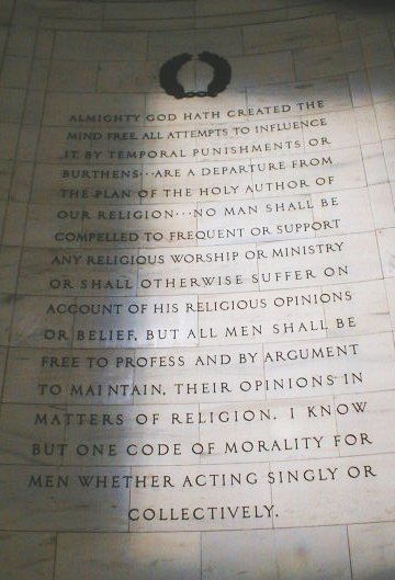 Quote by Jefferson on equality and mental rights, the Jefferson Memorial, Washington D.C..