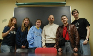 Amy Rawcliffe, Rebecca Shaffer, Jamie Hudzik, Dr. Louis Martin,  Nathan Matias, Brian Hess on the last day of EN380, Metaphysical Poetry, at Elizabethtown College, May 2005