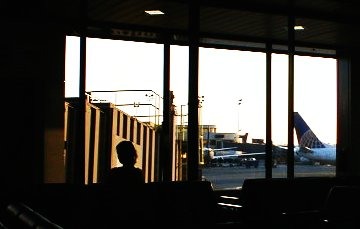 Looking out the window at terminal B, Newark International Airport