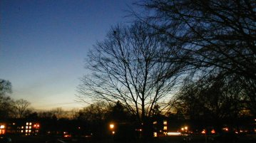 Nighttime view out of Steinman Hall, Elizabethtown College, December 2004