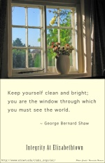 Keep yourself clean and bright; you are the window through which you must see the world. -- George Bernard Shaw