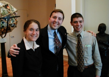 Melissa St. Clair, Kyle C. Kopko, J. Nathan Matias in Zug Memorial Hall, in March 2005, after presenting their senior research to prospective honors students.