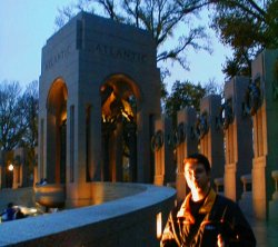 Jonathan Matias at the WWII memorial in Washington D.C.